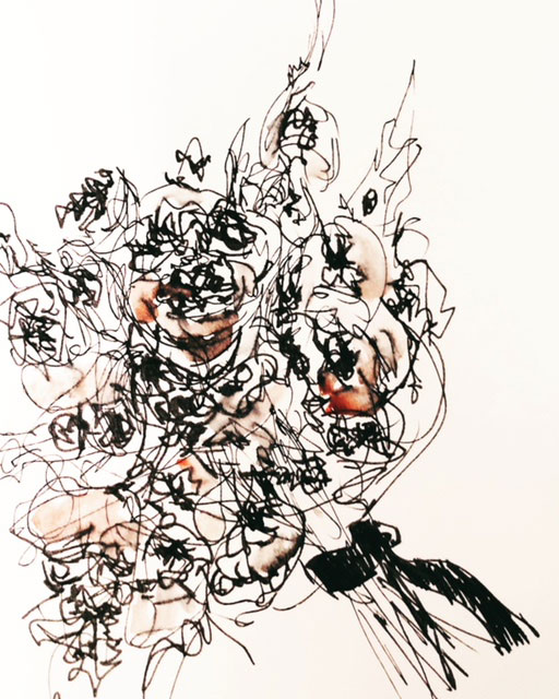an ink drawn watercolor sketch of roses