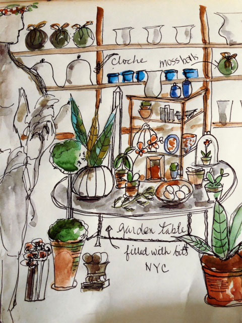 ink and watercolor sketch of garden table display in NYC