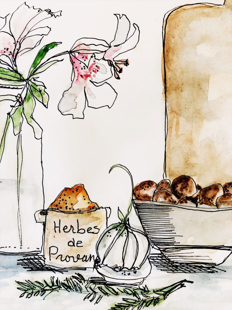 watercolor sketch of herbes de provence, garlic, and lilies
