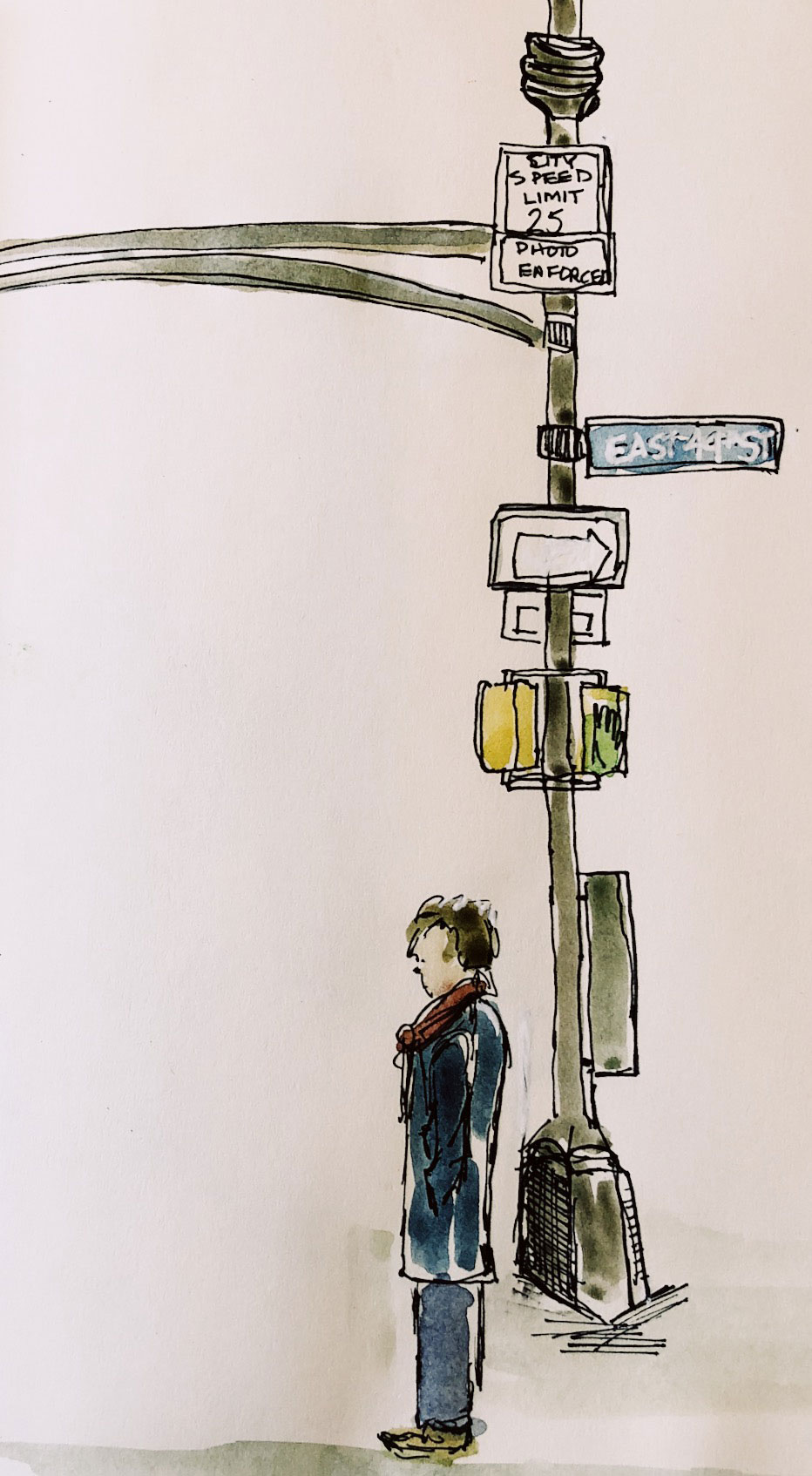Urban watercolor sketch of a man on 49th ST. in New York City