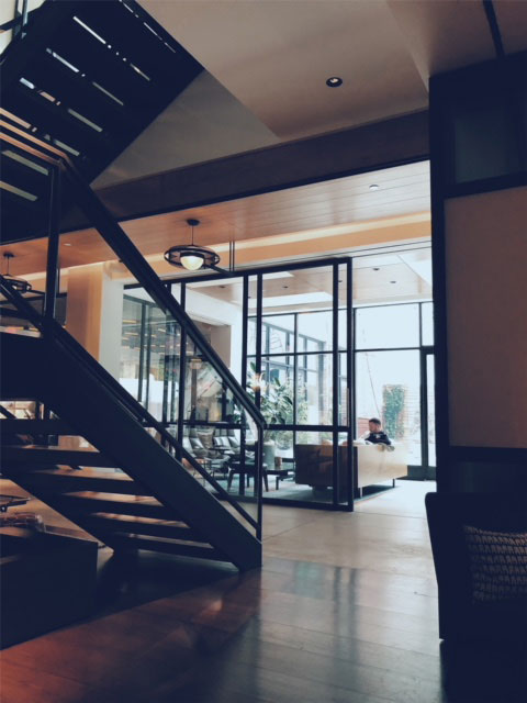 photo of the staircase in the Arlo SoHo Lobby