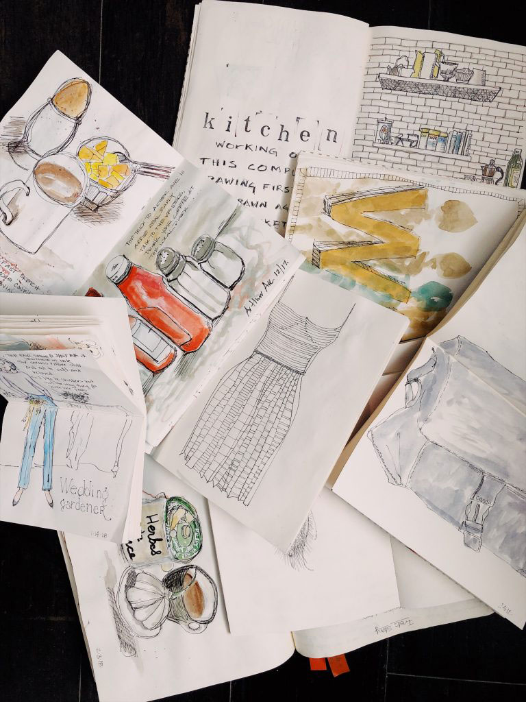 photo of various watercolor sketches