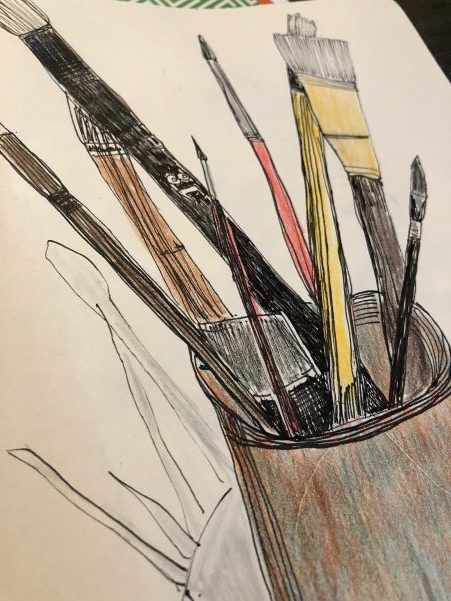 sketching 101 : 5 easy sketching tips to improve your skills : sketch of a cup full of paint brushes