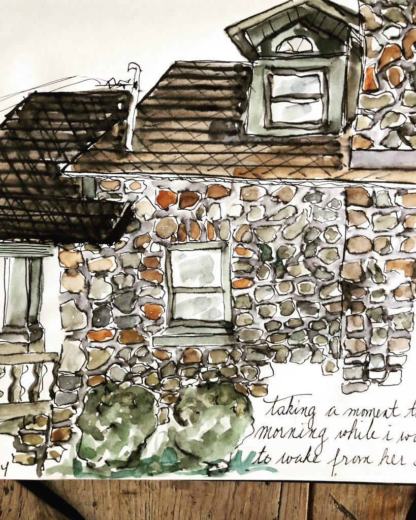 sketching 101 : 5 easy sketching tips to improve your skills : sketch of a stone house