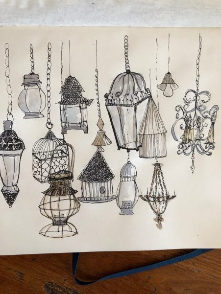 sketching 101 : 5 easy sketching tips to improve your skills : sketch of hanging lamps