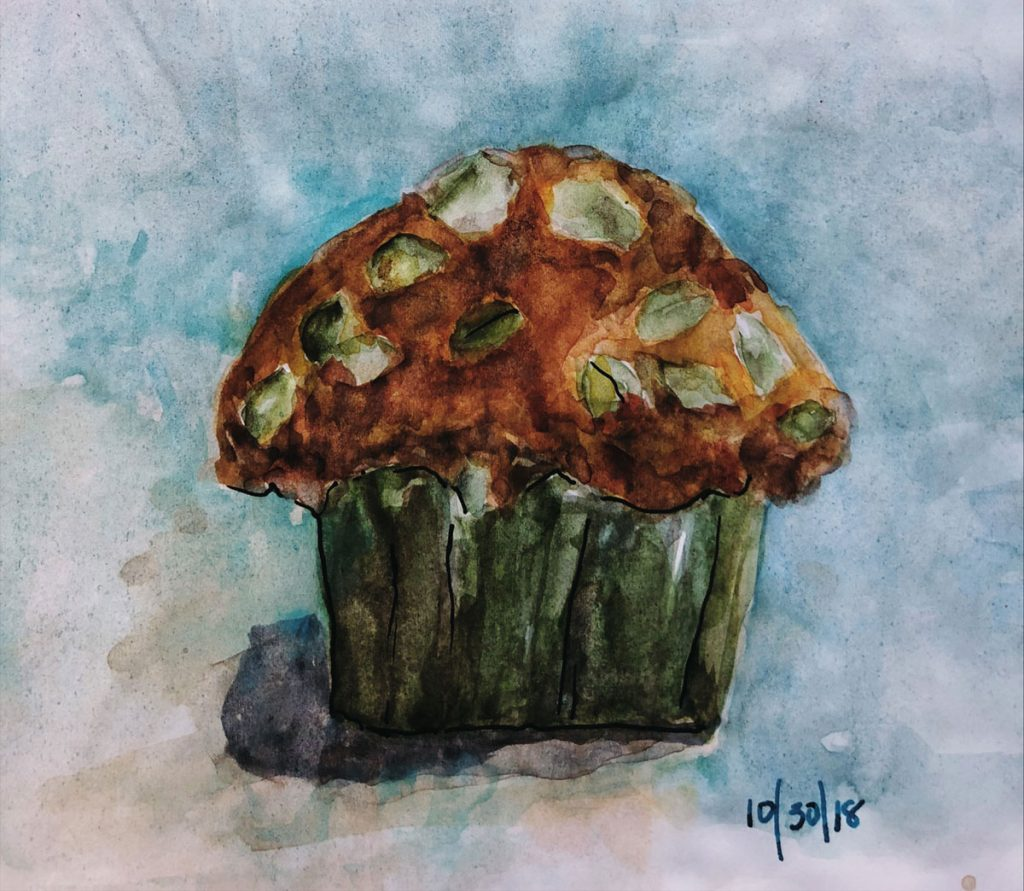 watercolor sketch of a muffin